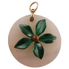 Unusual Antique Victorian Scottish Chalcedony Agate Malachite Flower 9K Gold Pendant