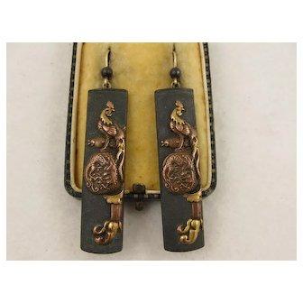 Unusual Antique 1800s Japanese Meiji Era Shakudo & Gold 'Rooster & Sake Barrel' Statement Earrings, Long, Large