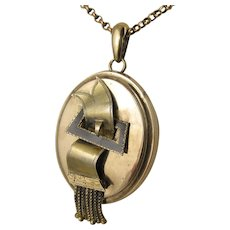 Antique Victorian Buckle Motif Enamel Locket Back Pendant, Tassels, Gold on Silver