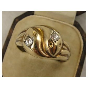 Large 1920s Entwined Snake Ring, Diamond Paste Heads, 9K Gold on Silver - Mens, 11