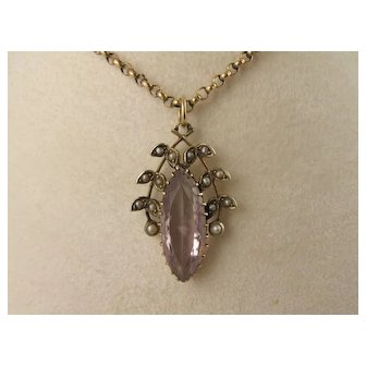 Antique Victorian 9K Gold, Amethyst & Pearl 'Wreath' Leaves Pendant