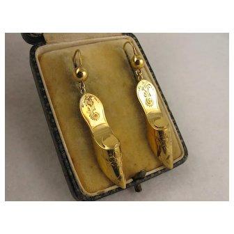 Amazing Antique Victorian 14K Gold 'Dainty Shoe' Engraved Earrings - Long, Dangly & Unique