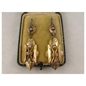 Antique 1800s French 18K Gold & Pearl Large Ornate Earrings, Victorian Era