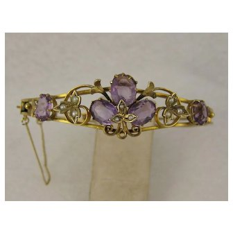 """Beautful Antique Victorian Amethyst & Pearl """"Ivy & Clover"""" Bangle Bracelet, Gold on Silver"""