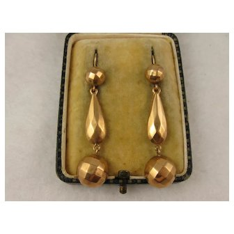 Antique Victorian 9K Rose Gold Faceted Long Dangly Earrings