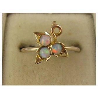 Antique Victorian 15K Gold Fiery Opal Ivy Leaf Three Opal Ring, Unusual Shape