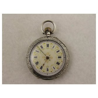 Antique Victorian Fancy Enameled Dial Silver Pocket Watch Pendant, Working Order