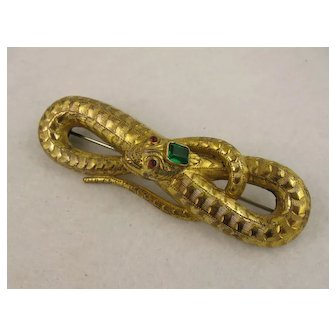 Extra Large Antique 1800s Victorian Snake Pin, Gold Gilt, Emerald Paste