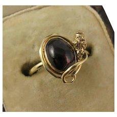 Antique Victorian 14K Gold 'Coiled Snake' Garnet Carbuncle Ring