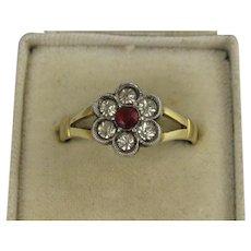 Antique Victorian - Edwardian 9K Gold & Silver Paste Set Flower Ring, Red & White