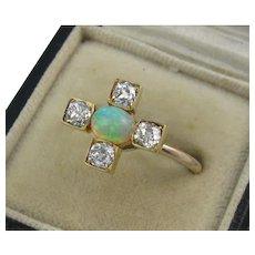 Striking Antique Edwardian 15K Gold, Opal, Diamond Ring