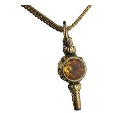 Antique 1800s Victorian - Georgian 10K Gold Etched Watch Key Pendant, Citrine & White Stone