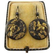 Rare Antique 1800s Meiji Era Japanese 'Nesting Eagles' Shakudo & 9K Gold Earrings, Long, Mixed Metals