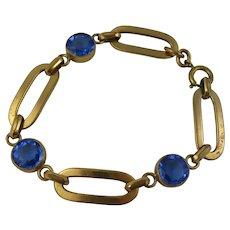 Pretty 1920s - 1930s Blue Paste Deco Rolled Gold Bold Link Bracelet
