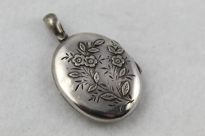 Antique Victorian Silver 'Forget-me-not' Applied Flower Locket Pendant,  Full English Hallmarks