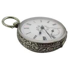 Antique Victorian Silver Ornate Case Fancy Dial Pocket Watch, Large