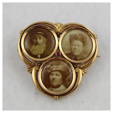 Antique Edwardian Family Locket Pin, Rolled Rose Gold, Three-Compartment