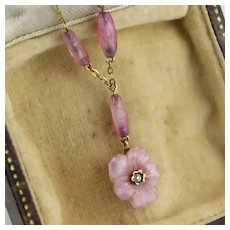 """Antique Edwardian - 1920 9K Gold Pressed Amethyst Glass Pansy Necklace with Diamond, 16"""""""