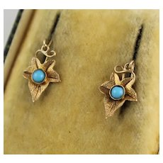 Unusual Antique Victorian 9K Gold Turquoise Glass Ivy Leaf Earrings