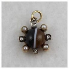 Antique Victorian Banded Agate, Diamond, 9K Gold & Silver Small Pendant / Charm