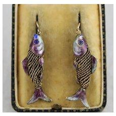Unusual Antique Silver & Blue Purple Enamel Koi Carp Fish Earrings