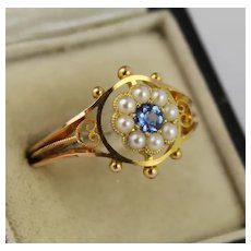 Antique Victorian 15K Gold Sapphire Pearl Flower Cluster Ring