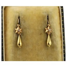 Antique 1800s French 18K Gold Star Pearl Night & Day Dormeuse Earrings