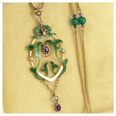 Beautiful Antique Edwardian Suffragette 9K Gold, Green Enamel, Amethyst, Pearl Lavalier Necklace