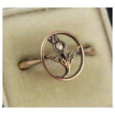 Antique 9K Rose Gold & Diamond Edwardian 'Tulip' Flower Ring