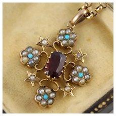 "Pretty Antique Victorian 9K Gold Star & Flower ""Snowflake"" Pendant, Pearl, Turquoise, Garnet"