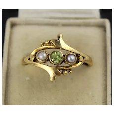 Antique Edwardian Art Nouveau 14K Gold, Peridot, Pearl Ring