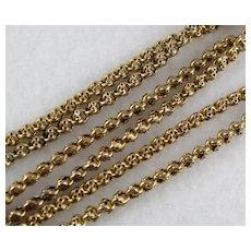"Unusual Antique Victorian 9K Gold Long 31"" Fancy Link Chain Necklace, Bolt Clasp"
