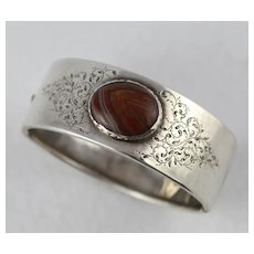 Antique Victorian Silver & Red Banded Agate Engraved Unusual Cuff Bracelet Bangle