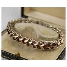 Substantial Antique 1800s French Silver & Rose Gold Chevron Bracelet