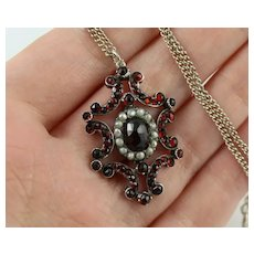 Antique Victorian Garnet & Pearl Silver Scrolled Pendant Necklace,