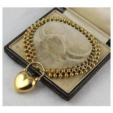 Antique Victorian 9K Gold Ball Bracelet w/ 18K GF Puffy Heart Padlock Clasp, Large Wrist