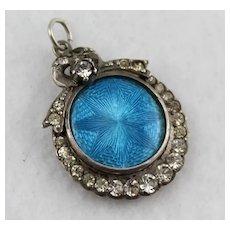 Antique Edwardian Silver Paste Guilloche Blue Enamel Star Locket Pendant, Hallmarked