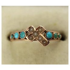 Unusual Antique Victorian 15K Rose Gold, Turquoise, Pearl 'Oblique Cross' Ring