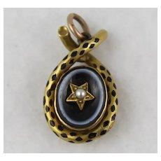 Antique Victorian 9K Gold 'Leopard Spot' Enamel Agate Star Locket Pendant