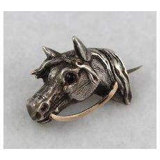 Unusual Antique Victorian Sculptural Silver Horse Head Pin, Rose Gold Detail