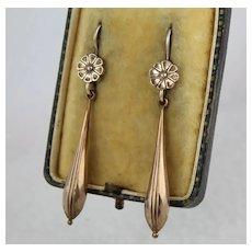 Antique Victorian Elegant Long Drop 9K & Rose Gold Gilt Flower Torpedo Earrings