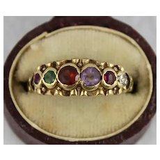 Antique Victorian Acrostic 'Regard' Acrostic Gemstone Ring, 9K Gold