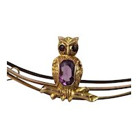 Antique Victorian - Edwardian 9K Gold, Amethyst Owl Crescent Moon Bird Pin Brooch