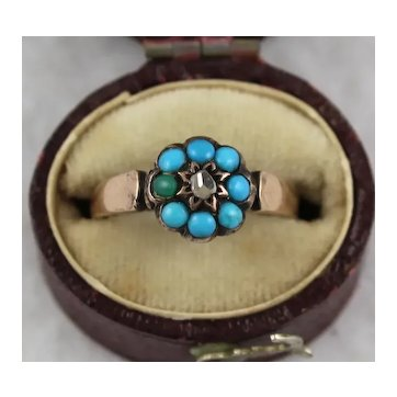 Antique Victorian 9K Rose Gold Turquoise Rose Cut Diamond 'Flowerhead' Star Cluster Ring