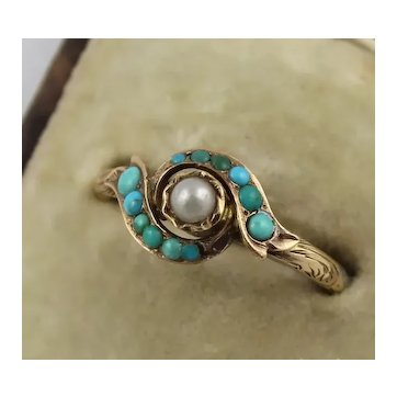 Antique Victorian 12K Gold, Turquoise, Pearl Swirl Ring, Engraved