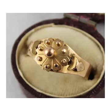 Antique 1800s French 18K Rose Gold Flower Band Ring