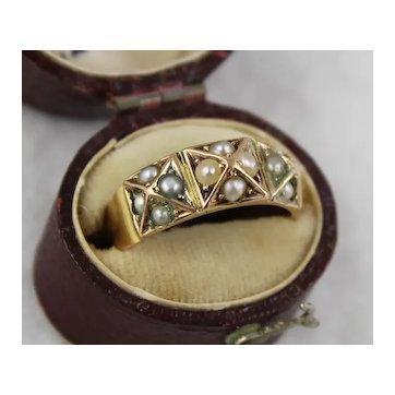 Antique Victorian 15K Gold 'Pyramid' Geometric Pearl Ring, Hallmarked