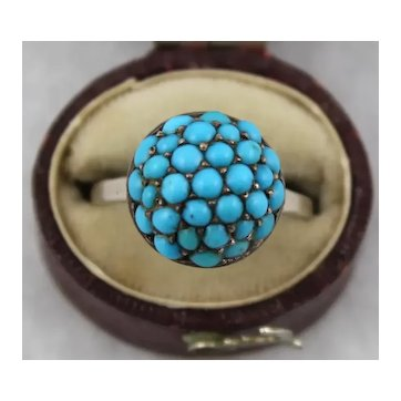 Antique Victorian Turquoise Pave Dome Ring, Silver Setting