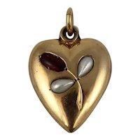 Antique Edwardian 18K Gold Filled Tulip Flower Heart Charm Pendant