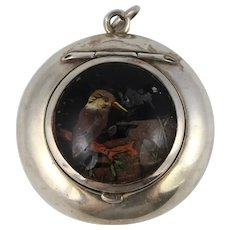 Unusual Antique Silver Kingfisher Crystal Locket Compact Pendant